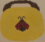 OBB106a Ladybug on Yellow 3.5 x 3.5 18 Mesh Kristine Kingston Needlepoint Designs