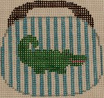 OBB100i Alligator on Turquoise and White Stripe 3.5 x 3.5 18 Mesh Kristine Kingston Needlepoint Designs