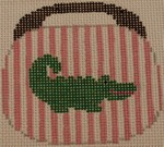 OBB100h Alligator on Pale Pink and White Stripe 3.5 x 3.5 18 Mesh Kristine Kingston Needlepoint Designs