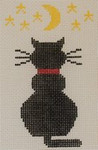 O101 Cat with Moon and Stars 3.5 x 4.5 18 Mesh Kristine Kingston Needlepoint Designs