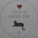 "O104 Home is Where the Cat is 4.5"" Round 18 Mesh Kristine Kingston Needlepoint Designs"