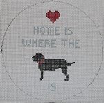 """O105 Home is Where the Dog is 4.5"""" Round 18 Mesh Kristine Kingston Needlepoint Designs"""