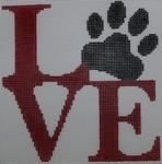 O106 4.75 x 5 Love Paw - Red 18 Mesh Kristine Kingston Needlepoint Designs
