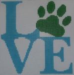 O107 4.75 x 5 Love Paw - Blue 18 Mesh Kristine Kingston Needlepoint Designs
