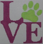 O108 4.75 x 5 Love Paw - Pink 18 Mesh Kristine Kingston Needlepoint Designs