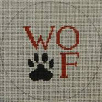 """O111 4"""" Round Woof and Paw Print - Black and Red 18 Mesh Kristine Kingston Needlepoint Designs"""