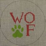 """O112 4"""" Round Woof and Paw Print - Pink and Green 18 Mesh Kristine Kingston Needlepoint Designs"""