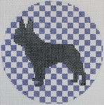 "OAS104 French Bulldog on Purple 4"" Round 18 Mesh Kristine Kingston Needlepoint Designs"