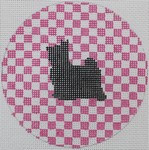 "OAS109 Maltese on Hot Pink 4"" Round 18 Mesh Kristine Kingston Needlepoint Designs"