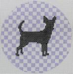 "OAS110 Chihuahua on Lavender 4"" Round 18 Mesh Kristine Kingston Needlepoint Designs"