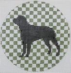 "OAS114  Rottweiler on Olive 4"" Round 18 Mesh Kristine Kingston Needlepoint Designs"