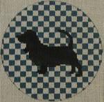 "OAS121 Basset hound 4"" Round 18 Mesh Kristine Kingston Needlepoint Designs"