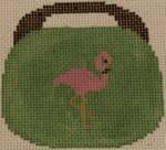 OBB101a 3.5 x 3.5 Flamingo on Mint 18 Mesh Kristine Kingston Needlepoint Designs