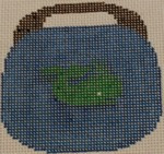 OBB107a Green Whale on Blue 3.5 x 3.5  18 Mesh Kristine Kingston Needlepoint Designs