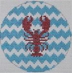 """MO102 Lobster on Chevron Mini Round  3"""" Round  18 Mesh Kristine Kingston Needlepoint Designs"""