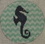 "NTO1 Seahorse on Chevron - Navy and Seafoam 3"" Round  18 Mesh Kristine Kingston Needlepoint Designs"