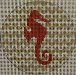 "NTO2 Seahorse on Chevron - Red and Khaki  3"" Round  18 Mesh Kristine Kingston Needlepoint Designs"