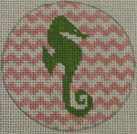 "NTO3 Seahorse on Chevron - Green and Pale Pink 3"" Round  18 Mesh Kristine Kingston Needlepoint Designs"