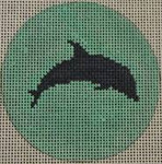 "NTO19 Dolphin on Solid Background - Navy and Seafoam 3"" Round  18 Mesh Kristine Kingston Needlepoint Designs"