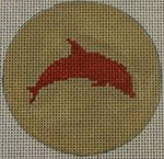"NTO20 Dolphin on Solid Background - Red and Khaki 3"" Round  18 Mesh Kristine Kingston Needlepoint Designs"