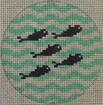 "NTO7 3"" Round 5 Little Fish on Wave - Navy and Seafoam  18 Mesh Kristine Kingston Needlepoint Designs"