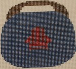 OBB104a Adirondack Chair - Red chair on Navy  3.5 x 3.5 18 Mesh Kristine Kingston Needlepoint Designs