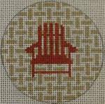 """NTO5 3"""" Round Adirondack Chair on Checks - Red and Khaki 18 Mesh Kristine Kingston Needlepoint Designs"""