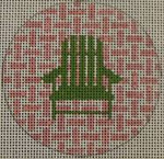 "NTO6 3"" Round Adirondack Chair on Checks - Green and Pale Pink 18 Mesh Kristine Kingston Needlepoint Designs"