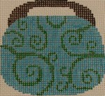 OBB103a 3.5 x 3.5 Swirl - Turquoise and Kelly Green 18 Mesh Kristine Kingston Needlepoint Designs