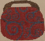OBB103c 3.5 x 3.5 Swirl - Red and Blue 18 Mesh Kristine Kingston Needlepoint Designs