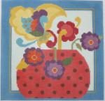 341 NeedleDeeva 13 Mesh Pink Vase w/ Flowers 11 x 11