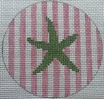 "NTO24	Starfish on Stripe - Green and Pale Pink  3"" Round  18 Mesh Kristine Kingston Needlepoint Designs"