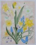 BB45 Daffy's & Grape Hyacinths BB Needlepoint Designs 18 Mesh  8x12 With Stitch Guide