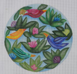"""BB50 Birds by Bonnie BB Needlepoint Designs  18 Mesh  8"""" circle With Stitch Guide"""