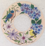 "BB128 Summer Wreath BB Needlepoint Designs 18 Mesh 10x10""With Stitch Guide"