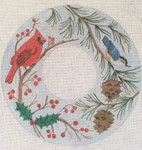BB130 Winter Wreath BB Needlepoint Designs 18 Mesh 10x10""