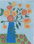 "BB137 Orange Flowers BB Needlepoint Designs 18 Mesh 6.5"" x 8.5"""