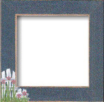 Mill Hill Frame Matte Blue w/Flower Picket Fence GBFRFA2