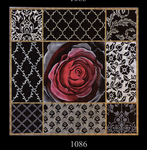 1086 Deep Red Rose Collage 15x15 13 Mesh Lani Enterprises