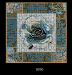 1090 Teal Rose Collage 15x15 13 Mesh Lani Enterprises