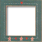 Mill Hill Frame Matte Green w/Gingerbread Hearts GBFRFA9