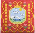 BF812 French Tile Geese 8x8  13 Mesh Birds Of A Feather