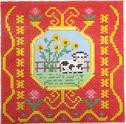 BF811 French Tile Cow 8x8  13 Mesh Birds Of A Feather