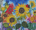 YL-018 Sunflower Garden 18 Mesh 13 x 10 Sundance Designs