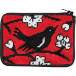 APSZ196 CREDIT CARD & COIN PURSE Alice Peterson Stitch And Zip Blackbird
