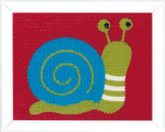 "PNV163468 Vervaco Kit Snail Canvas Kit  5.2"" x 6.4""; Printed Large Hole Canvas - 100% Cotton; 6.5ct"