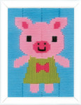 "PNV163442 Vervaco Pig in Dress Long Stitch 5"" x 6.4"""