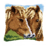 PNV154275 Vervaco Horses Latch Hook Cushion