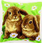 PNV162709 Vervaco Two Rabbits Cushion