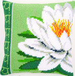 PNV156009 Vervaco White Lotus Flower Cushion
